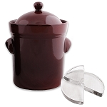 S.C.T. 10 Liter Fermenting Crock with weights. Dark Brown Colour
