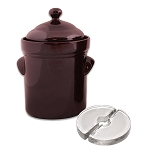 S.C.T. 5 Liter fermenting crock with weights. Dark Brown Colour